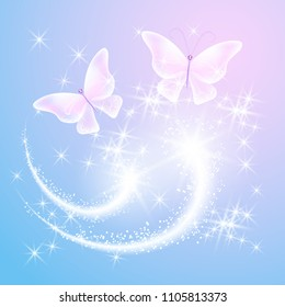 Transparent butterfly with glowing stars