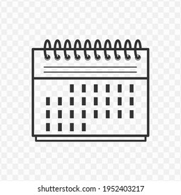 Transparent calendar icon png, vector illustration of an calendar icon in dark color and transparent background(png)