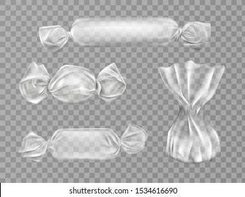 Transparent candy wrappers set isolated on grey background. Limpid blank package for lollipops, chocolate and truffle sweets. production design elements. Realistic 3d vector illustration, clip art