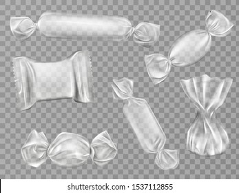 Transparent candy wrappers set isolated on limpid background. Blank package for lollipops, chocolate, truffle and pouch sweets production, design elements. Realistic 3d vector illustration, clip art