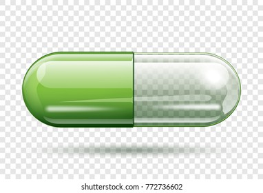 transparent capsule pill isolated on transparent background