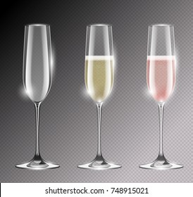 Transparent champagne glass flute vector illustration. Realistic set of glasses with sparkling white and rose wine and empty glass. Empty goblet with highlights.