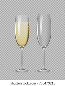 Transparent champagne glasses. Empty glass and glass with champagne