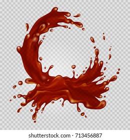 Transparent chocolate splash flows in a circle. Vector illustration.