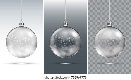 Transparent Christmas Ball With Snow Inside. EPS10 Vector