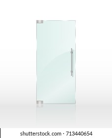 Transparent clear glass door isolated on white background. Entrance door for shop or boutique mockup. Vector illustration EPS 10
