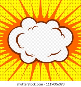 Transparent cloud with exploding background. Vector illustration.