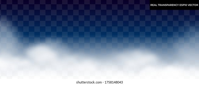 Transparent clouds, fog isolated on dark background, realistic vector illustration. Real transparency, no trace elements. Cloudscape collection, evening sky concept. Night foggy background.