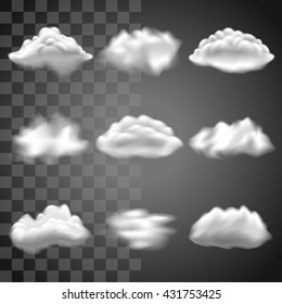 Transparent clouds icons detailed realistic vector set