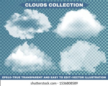 Transparent clouds on a blue azure backdrop. Creative template with soft colors. Vector illustrations collection. White cutout extracted, isolated, realistic elements. Smoke or thunderclouds.
