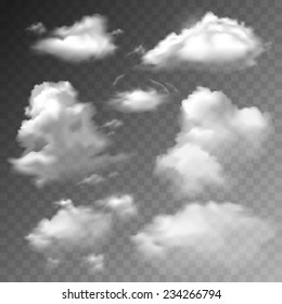 Transparent clouds spring sunny weather cloudscape realistic set vector illustration