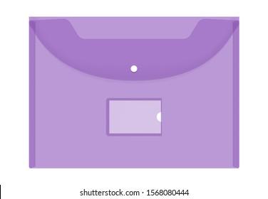 Transparent color plastic envelope folder with snap button and label pocket, mock-up. Clear document bag for education and business, vector illustration.