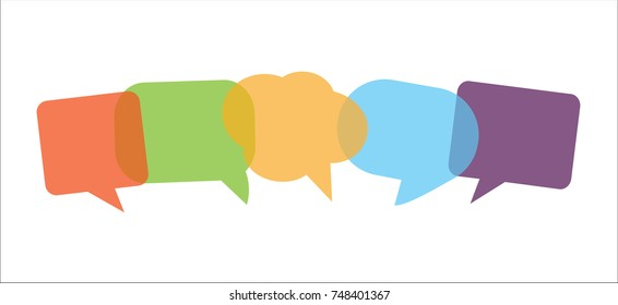 Transparent colour speech bubbles in vector graphics