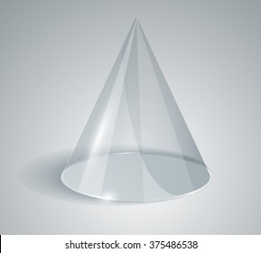 Transparent cone isolated on white background. Glass design. Geometric body of revolution. Element Graphic Design. Logo glass.