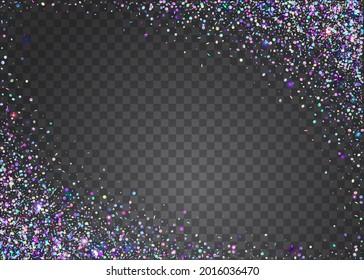 Transparent Confetti. Fantasy Foil. Neon Tinsel. Disco Abstract Decoration. Violet Laser Effect. Bright Art. Hologram Background. Metal Prism. Purple Transparent Confetti