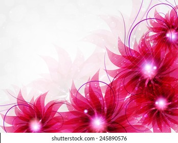 Transparent crimson flowers. Abstract floral card with place for text