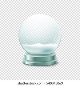 Transparent crystal ball with snow vector illustration. Christmas snow ball illustration