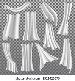 Transparent curtains vector isolated 3D realistic icons set. Different shapes white curtains hanging and moving from wind blow, lightweight drapery textile with folds