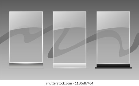 Transparent Desktop Glass plate template; Acrylic information plate mockup for your menu or logo; Can be used on different backgrounds