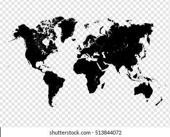 Transparent Detailed World Map Vector Design
