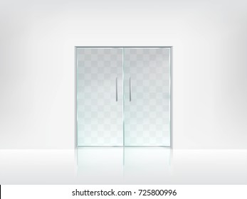 Transparent double glass doors with handles on white wall and glossy floor realistic blank vector template. Office entrance, boutique facade, shop or store porch mockup. Modern interior design element