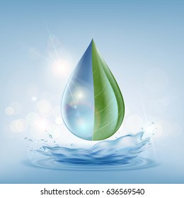 Transparent drop of water on a blue background. Sewage treatment. Delivery and purification. Stock vector illustration.