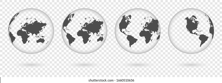 Transparent Earth globes from different sides with shadow. World map globe symbols set isolated on transparent background. Vector illustration.