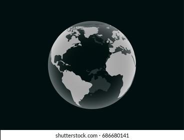 Transparent Earth model on dark green background