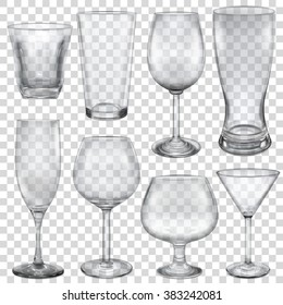 Transparent empty glasses and stemware for different drinks