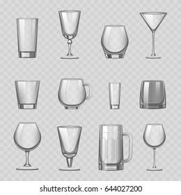 Transparent empty glasses and stemware drinks tumbler mug cups reservoir vessel realistic glassware drinks vector illustration