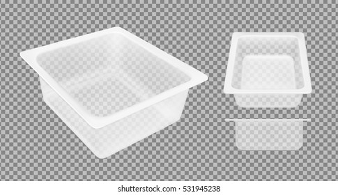 Transparent empty plastic container for cheese. Packaging for meat, fish and vegetables.