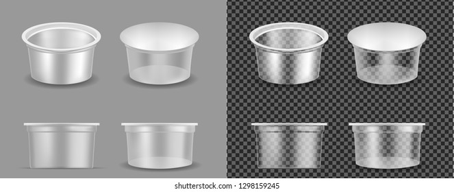 Transparent empty plastic container for yogurt. Packaging for sour cream and sauce.
