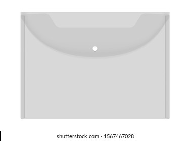 Transparent empty plastic envelope folder with snap button closure, realistic vector mockup. Clear file case, template.
