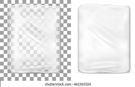 Transparent empty plastic packaging for toilet paper.