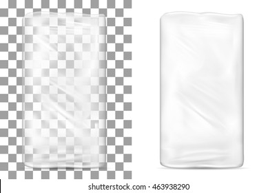 Transparent empty plastic packaging for toilet paper, soap and cosmetics.