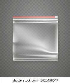 Transparent empty plastic ziplock package. Vector object isolated on transparent