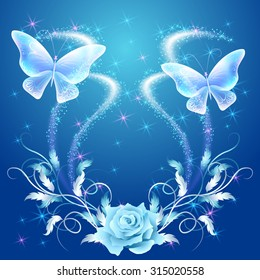 Transparent flying butterflies with silver ornament, rose and glowing firework
