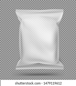Transparent food snack pillow bag on transparent background. Vector illustration. Can be use for template your design, promo, adv.