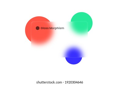 Transparent frame in glass morphism or glassmorphism style. Circles on the background. Glass-morphism style. Vector illustration