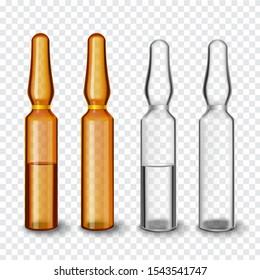 Transparent glass ampoules, vector illustration