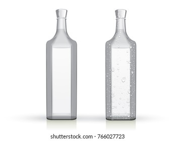 transparent glass bottle with drops on a white background mock up vector template