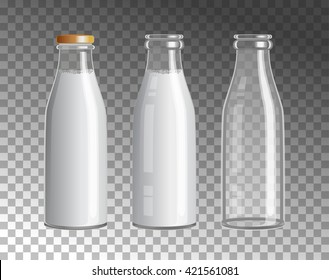 Transparent Glass Bottles. Dairy products. Empty, full and closed milk jars. Vector set of three images.