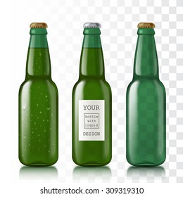 Transparent glass bottles. Set realistic beer bottles for the template and sample design. Mock Up Ready For Your Design. Isolated On White Background. Vector illustration