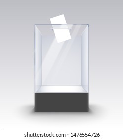 Transparent glass box ballot vote election. Empty container paper on standm voting box poll.