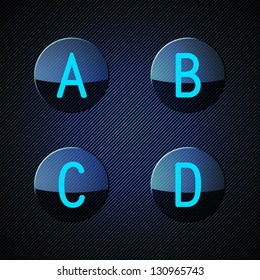 Transparent glass buttons with letters of ...the alphabet. Vector illustration.
