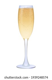 Transparent glass of champagne drink. Traditional alcoholic drink for celebration events realistic vector illustration isolated on white background