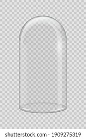 Transparent glass cover. Vector vertical dome isolated on transparent background