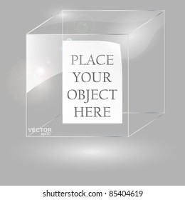 Transparent glass cubic. Vector illustration.