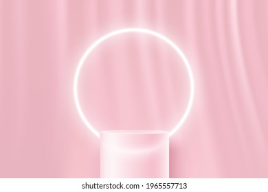 Transparent glass cylinder pedestal podium. Minimal sweet pink wall scene and glowing neon circular shape. Vector rendering 3d shape for product display presentation. Abstract room concept.