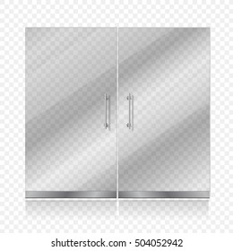 Transparent glass door isolated. Entrance passage mock up vector illustration